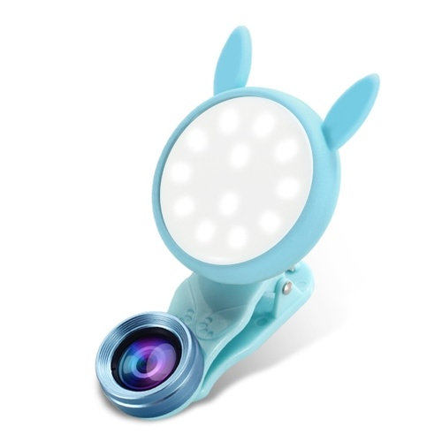 WQ-04 Live Beauty Lens Fill Light LEDs Mini Selfie Lamp Adjustable 6 Lighting Levels with Elastic Clip
