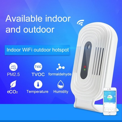 WI-FI Smart Home Smog Meter PM2.5 Instrumento de Detecção de CO2 Formaldeído TVOC Testador de Qualidade do Ar