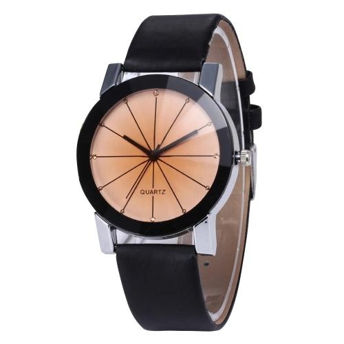 Reloj de pulsera de cuero Reloj de esfera de cuarzo analógico Caja redonda Relojes de pulsera casual Pulsera de negocios