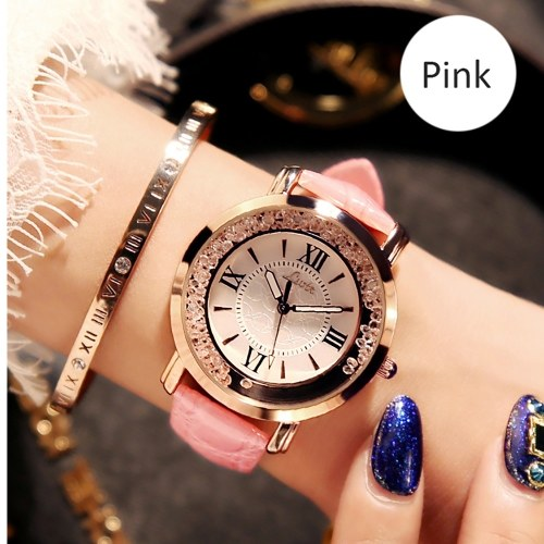 Ins super fire vibrating watch chic female middle school students Korean version of the net red rhinestone leisure starry trend current rhinestone female Pink