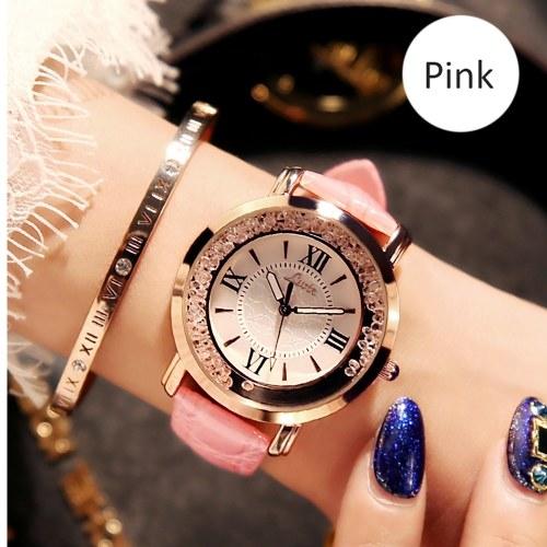 ネットの赤いラインストーンレジャー星空トレンド現在のラインストーン女性のピンクのシックな女性の中学生韓国語版の超スーパー振動振動時計