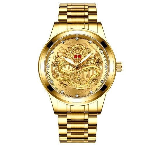 Fenzun embossed gold dragon watch men's waterproof non-mechanical watch men's diamond ruby dragon face fashion middle-aged watch All gold - gold face
