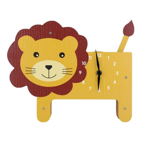 Tooarts Cartoon Animal Clock, Swinging Lion Clock, MDF Wooden Clock, Wall Clock for Kids Room Living Room, Home Decor, No Assembly Required, One AA Battery Operated(not included)