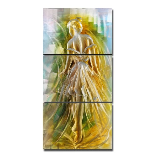 Tooarts Ballet Girl Modern Painting  Aluminum Wall Art Warm Beauty