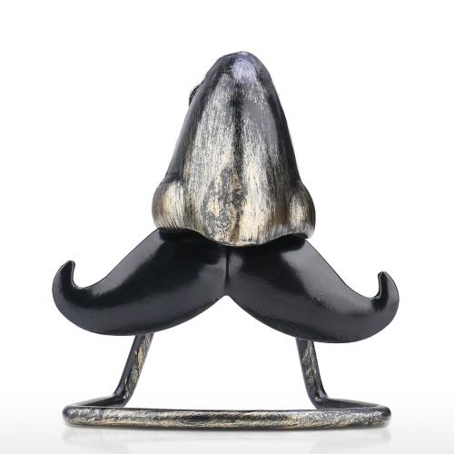 Tooarts Sostenedor de anteojos en forma de nariz grande y barba Sabor Escultura de hierro Artesanía Gafas de sol Exhibición Decoración de escritorio Regalo divertido para familiares y amigos