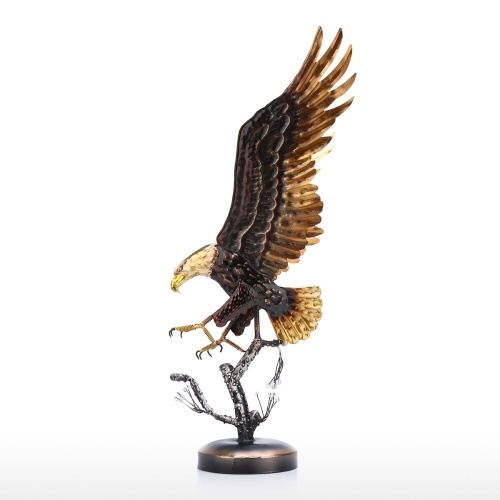 Tooarts Bald Eagle Sculpture Modern Iron Ornament Taste Art Decor Handmade Craft Special Animal Styling Shelf and Desk Decoration Home Decor