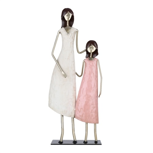 Tooarts Mother and Daughter Statue Iron Decoration Warm Home Ornament Living Room Cabinet Kids Rooms Decor Mother's Gift
