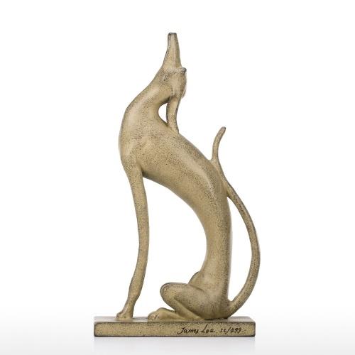 Tomfeel renversé Chien Statue En Aluminium Art Statue Décoration de La Maison Animal Ornement Bureau Table Ornement