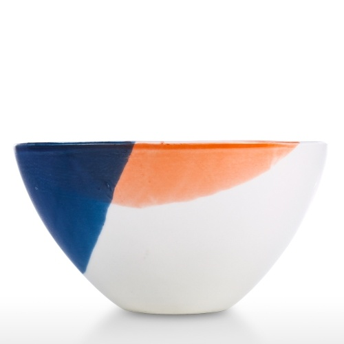 Porcelain Serving Bowl Soup Noodle Bowl Elegant White Orange Blue Elegant Home Decor