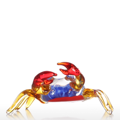 Tooarts Flower Crab Gift Glass Ornament Animal Figurine Handblown Home Decor