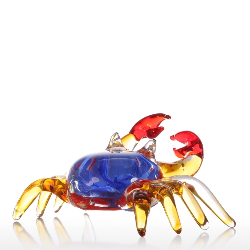 Tooarts Flower Crab Gift Glass Ornament Animal Figurine Handblown Home Decor