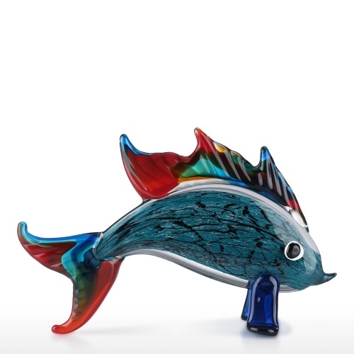Poisson rouge en verre soufflé à la main Art de poisson en verre figurine de collection cadeau décoration décoration de table