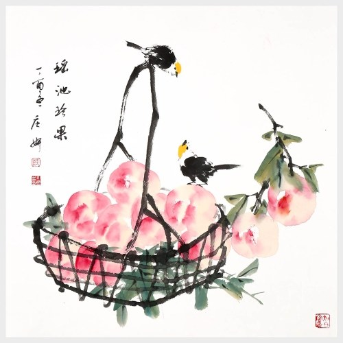 Immortal Peaches Fruit and Bird Painting 100% Hand Painted Wall Art Hanging Artwork for Home Office