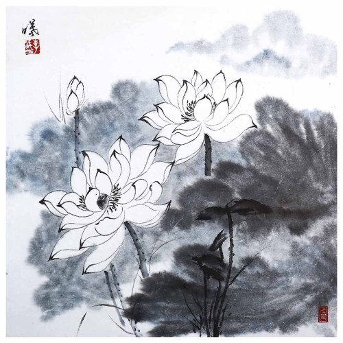 Tooarts Lotus under the Moonlight Chinese Painting Wall Art Artist Hand-Painted Chinese Brush Painting Traditional Decoration Home Office Decoration Painting Carefully Packed