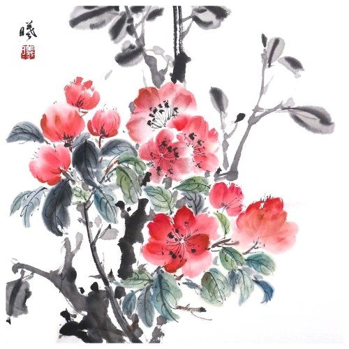 Tooarts Blooming Flowers Chinese Flower Painting Wall Art Artist Hand-Painted Chinese Brush Painting Traditional Decoration Home Office Decoration Painting Carefully Packed