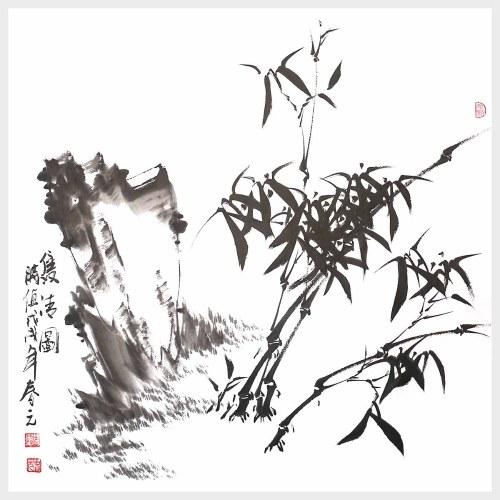 Arte de la pared de bambú Arte de la pintura de tinta china Imagen de pintura de naturaleza para la decoración del hogar Decoración Regalo