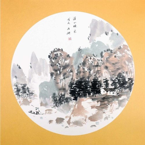 Chinese Ink Painting Style Landscape with Mountains Wall Art Modern Home Decor Ready to Hang