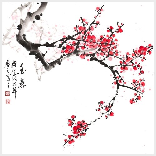 Traditional Chinese Painting Fragrance Plum Blossom Painting Wall Art for Living Room Wall Decor Home Decoration