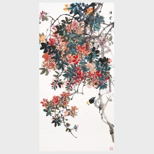 Aspirations élevées Fleur et Oiseau Peinture Traditionnelle Chinoise Art Mural Décoration Art Suspendu
