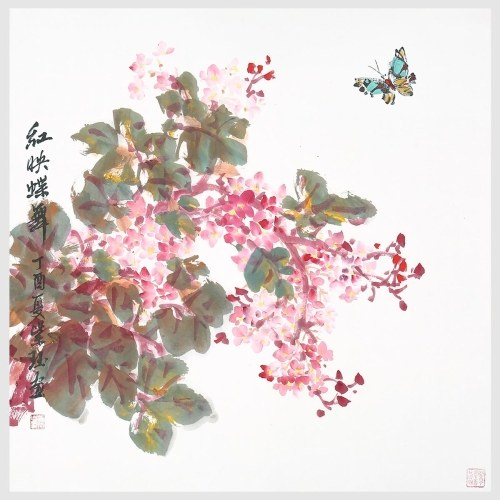 Flowers and Dancing Butterflies Painting Pictures Prints Wall Art Hanging Art for Office Home Decoration