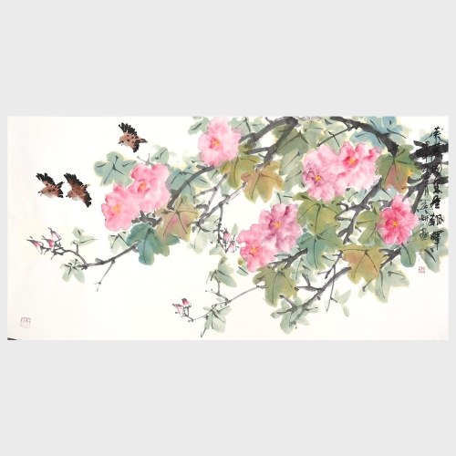 Cottonrose Hibiscus in Full Blossom Birds Flying Flower and Bird Painting Natural Art Print Wall Art Home Decor