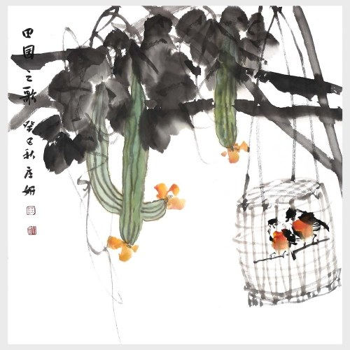 Pastorale Lieder Melone und Vogel Malerei Naturkunst Malerei Wandkunst Malerei Druck Bilder Home Decor