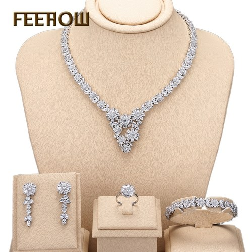 European and American luxury bride wedding new snowflake zircon set