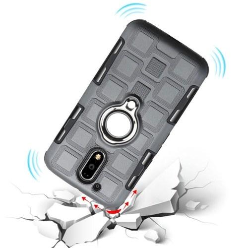 New noto Motorola G4PLUS E4PLUS 2-in-1 ring car magnetic bracket mobile phone case gray