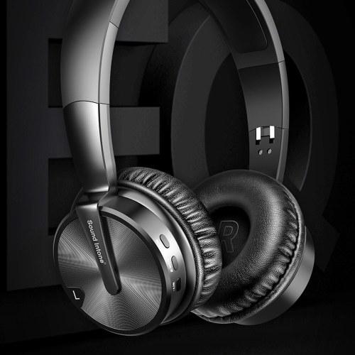 Suono Intone BT-16 Cuffia Bluetooth senza fili Cuffie da gioco pieghevoli Sopra la musica dell'orecchio Supporto per auricolari stereo Supporto TF AUX IN Nero