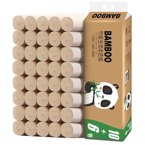 16 Coreless Rolls 4-Ply Wood Pulp Toilet Paper Natural Toilet Tissue Household Toilet Paper Thickened Kitchen Paper