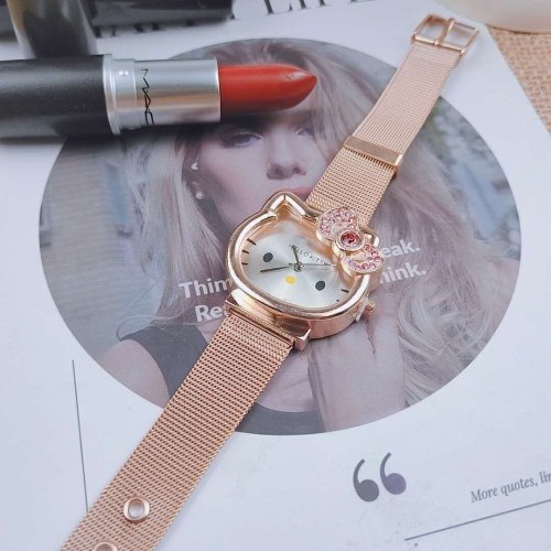 Cute girl cartoon watch white