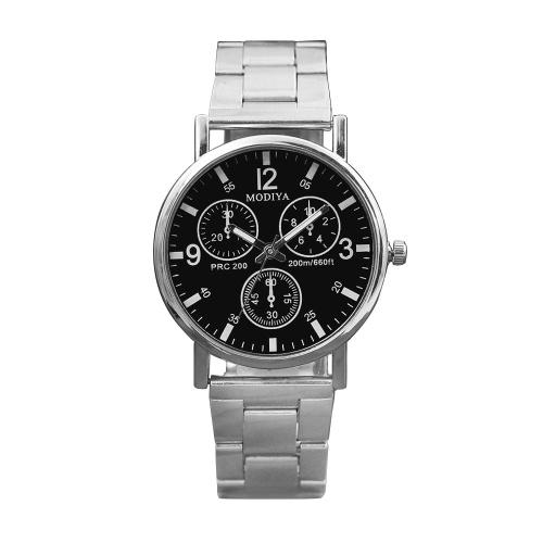 MODIYA Drei-Augen-Stahlgürtel beiläufige Uhr Herren Quarzuhr Geschenk Werbegeschenk Uhr Herrenuhr Großhandel schwarz