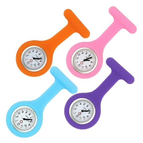 Silicone Pin Brooch Watch Hanging Medical Pocket Watch Pin-on Lapel Block Watches for Nurse Doctor