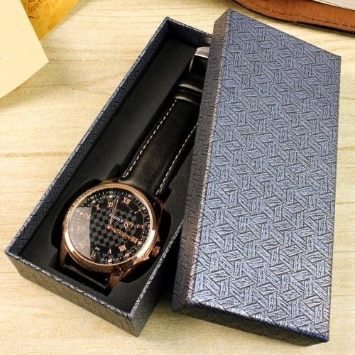 YAZOLE Watch Box Organizer Rectangular Watch Boxes Long Black Gift Packing Box for Watch Bracelet Jewelry (Blue Stripe)