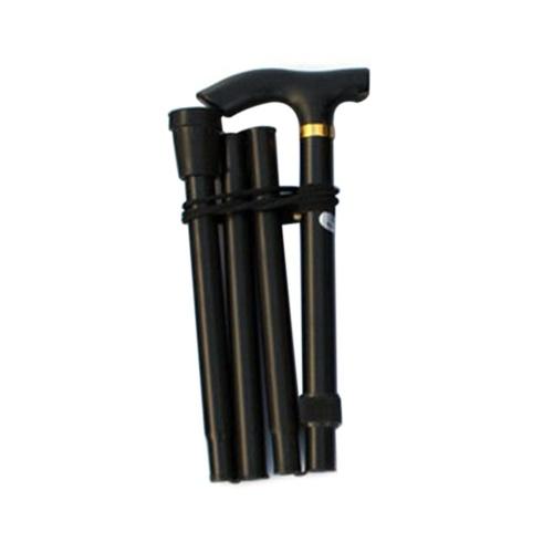 Алюминиевый сплав складной трость четыре секции телескопические складные треккинговые палки нескользящая трость пожилые регулируемые костыли черный