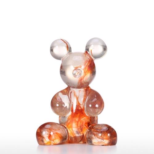 Transparent Resin Bear Desk Transparent Glass-like Soft Sculpture Crafts Home Bedroom Decorations Ornaments