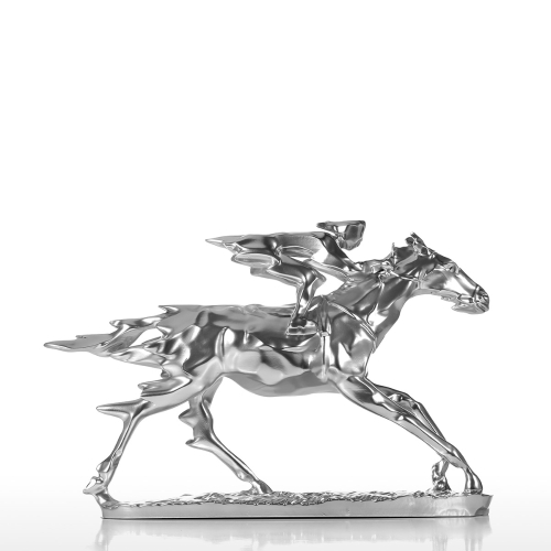 Horse Racing Knight Resin Sculpture Statue with Base Electrosilvering Effect Racer and Horse Indoor / Outdoor Decoration
