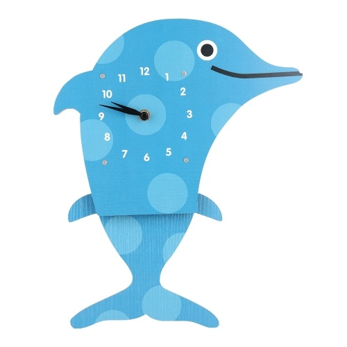 Tooarts Cartoon Animal Clock, Swinging Dolphin Clock, MDF Wooden Wall Clock, Clock for Kids Room Living Room, Home Decor, Easy to Install, One AA Battery Operated (not include)