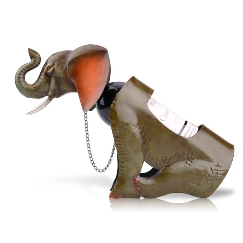 Tooarts Elephant wIne shelf  Metal sculpture Practical sculpture Home decoration Interior decoration Crafts A016