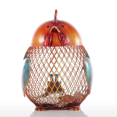 Tooarts Piggy Bank Metal Craft Animal Figurine Home Decor Gift, Orange, 4.1 * 5.1 * 6.7inches