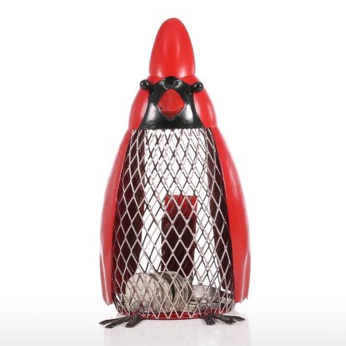 Banco de dinero de aves con rojo de ropa de hierro hecho a mano Bird Forma de banco de moneda Práctico artesanía de regalo de decoración del hogar