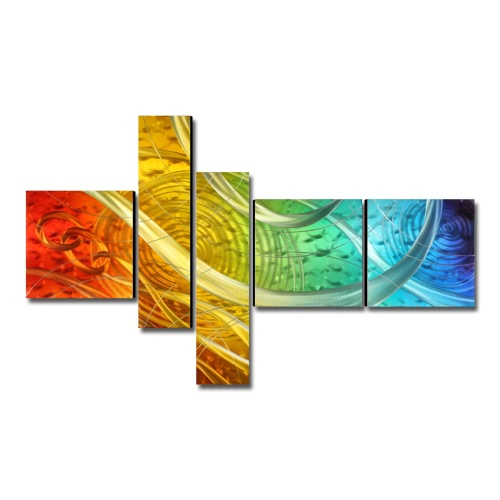 Tooarts The Light of the Life Modern Painting Wall Art Home Decoration  5 Panels Multicolor