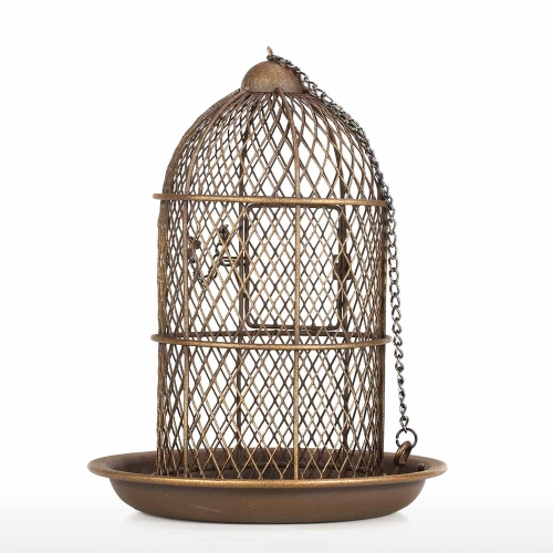 Tooarts Bird Feeder Bird Cage Feeder Hanging Wild Bird Feeder Garden Backyard Decoration Bird Gift