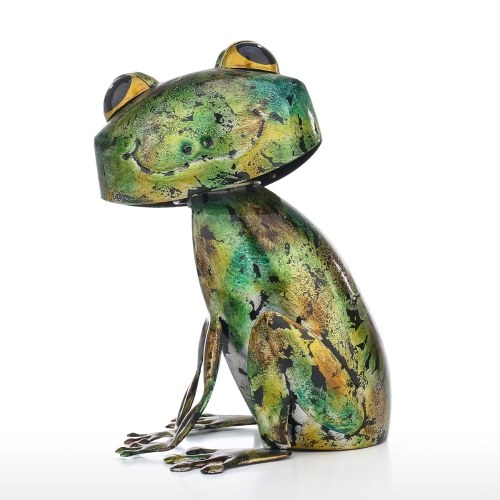 Tooarts Frog Sculpture Modern Iron Ornament Fun Art Decor Handmade Craft Shelf and Desk Decoration Home Decor Colorful