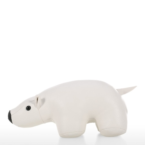 Leather White Bear Door Stopper Animal Gift Home Decoration Stop your Bedroom Bathroom and Other Doors in Style