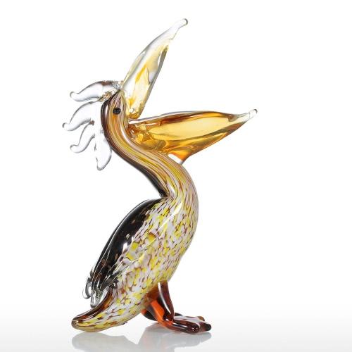 Tooarts Kormoran-Glas-Skulptur-Ausgangsdekor-Tierverzierung Geschenk-Fertigkeit-Dekoration