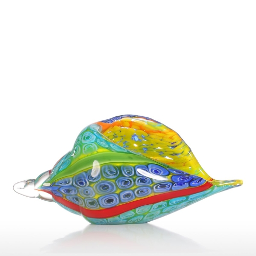 Tooarts Colorful Sea Shell Glass Ornament Фигурка для животных Handblown Home Decor