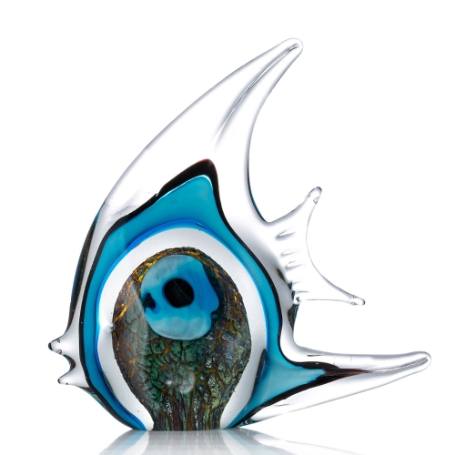 Blue Stripe Tropical Fish Glass Sculpture Décoration intérieure Poisson
