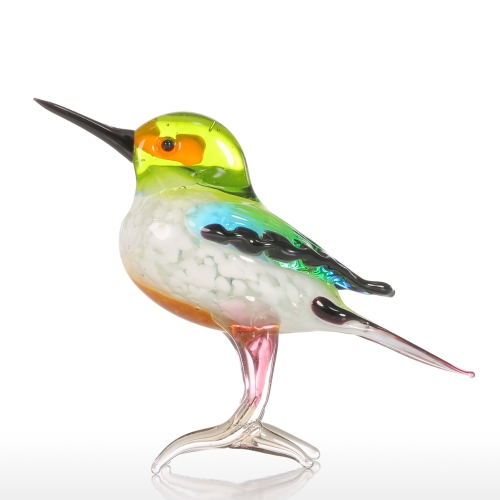 Tooarts Tiny Bird Gift Glass Ornament Animal Figurine Handblown Home Decor