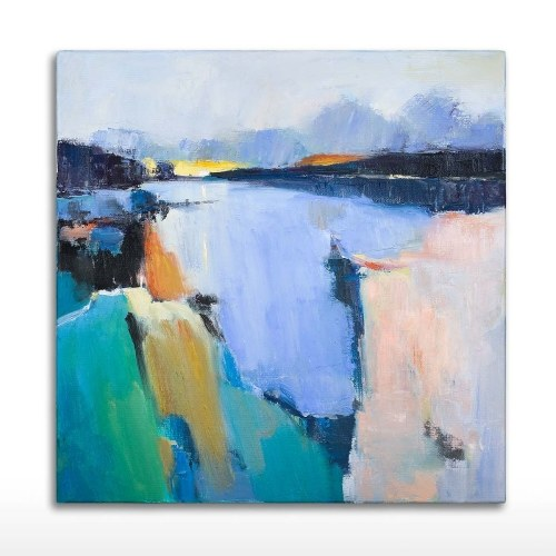 Tooarts| Wall Art Oil Painting 100% Hand Painted Morning Lake Themed Natural Scenery Art Decor on Canvas Modern Art Pictures for Home Living Room Bedroom Office Well Package Perfect Gift